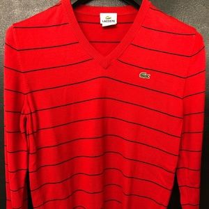 Lacoste red striped v-neck sweater in size S